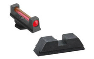 AmeriGlo Glock High Red Fiber Optic Front Sight W/Black Steel Pro Rear (GFT-119)