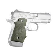 Hogue Rubber Grip W/Finger Grooves For Kimber Micro 9-Ambi Safety-OD Green (39081)