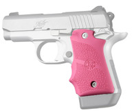 Hogue Rubber Grip W/Finger Grooves For Kimber Micro 9-Ambi Safety-Pink (39087)