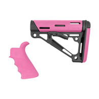 Hogue AR15 Overmold Collapsable Buttstock & Beavertail Finger Groove Grip Com/Mil-Spec Pink-15755