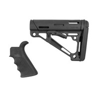 Hogue AR15 Overmold Collapsable Buttstock & Beavertail Finger Groove Grip Com/Mil-Spec Black-15055