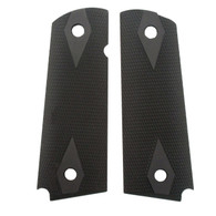 "Hogue 1911 Government/Commander 3/16"" Thin Grips Aluminum Checkered Matte Black Anodized-01470"