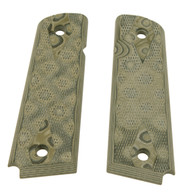 """Hogue 1911 Government/Commander 9/32"""" Thick Grips G-10 Checkered G-Mascus Green-01458"""