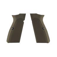 Hogue Browning Hi Power Grips Checkered Aluminum Matte Green Anodized-09171