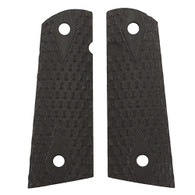 Hogue Colt & 1911 Government S&A Mag Well Grips Chain Link, G-10 Solid Black-45109