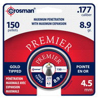 Crosman .177 Cal Premier Gold Tipped Pellets-Tin of 150 (GTP77)