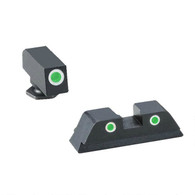 AmeriGlo Tritium Night Sight Set For Glock High-Green W/White Outline (GL-119)