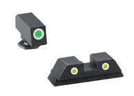 Ameriglo Green Frt/Yellow Rear/White Outline Night Sight Set-Glock High (GL-121)