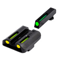 TruGlo TFO Tritium/Fiber Optic Sight Set For Glock High-Green/Yellow (TG131GT2Y)