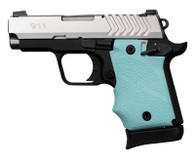 Hogue Rubber Grip W/Finger Grooves For Springfield 911-9mm-Aqua (49084)