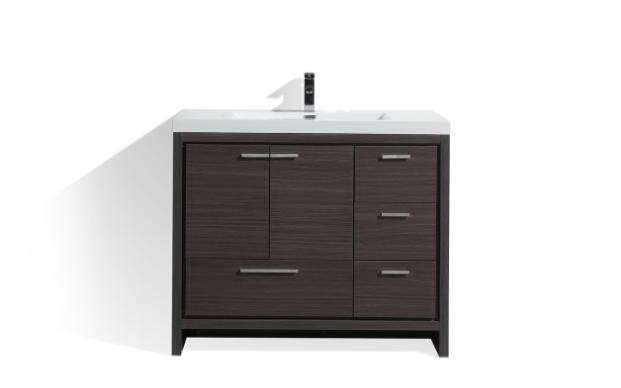 Dolce 42 Dark Gray Oak Modern Bathroom Vanity W Right Side