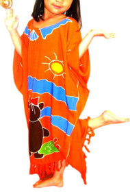 TEDDYBEAR Orange Girl Kaftan Dress Gift Childs Kids Kid Beach Cover Sun Soft BN