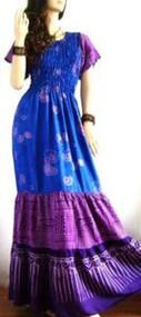 SALE New 3 TIER Blue Purple Long Dress Batik Gypsy Boho Beach 12 14 16 18 20 20