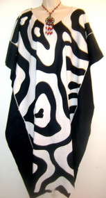 NEW ZEBRA Soft Hand Drawn Kaftan Caftan Black White Plus Dress