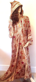 Red Gold Moroccan Hooded Silky Party Abaya Long Dress S M L XL