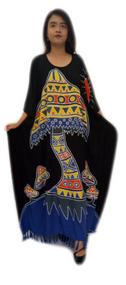 MUSHROOM Designer Hand Drawn Buttersoft Kaftan Plus Dress - Fits many sizes