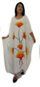 New LOTUS Buttersoft Handmade Floral Kaftan Dress in White, Black and  Green