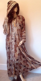 New Black Gold Hooded Long Silky Long Abaya Kaftan Dress S M L XL