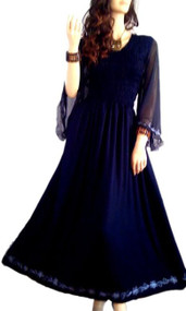 LYLA Embroidered Chiffon Sleeved Sexy Long Smocked Maxi Dress - Freesize