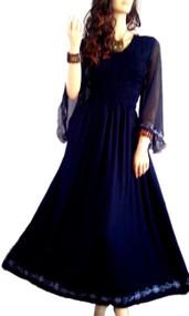 LYLA Embroidered Chiffon Sleeved Sexy Long Smocked Maxi Dress - Freesize