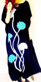 DAHLIA Black Hand Drawn Floral Cool Kaftan Dress Beach Cover-Up  - Freesize