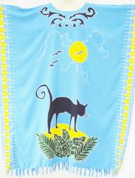 CAT Silhouette Long Kaftan Dress Beach Cover Up - Freesize
