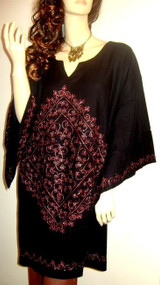 GLAM Black Blouse Tunic Kaftan Top 16 18 20 22 24 Freesize