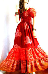 3 TIER Autumn Red Brown Long Smocked Dress