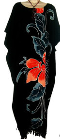 Beautiful Black Hand Painted Orchid Flower Buttersoft Long Kaftan Dress - Freesize