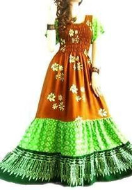 3 TIER Brown Green Long Batik Dress - Freesize
