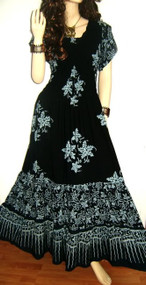 3-TIER Black Batik Maxi Dress - Freesize