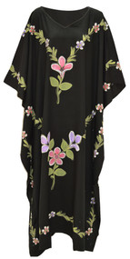 GARDEN Black Hand Painted Embroidered Kaftan Dress Ladies Long Cool Kaftan