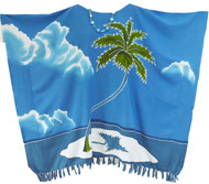 MALDIVES Hand Painted Coconut Island Kaftan Top - Freesize