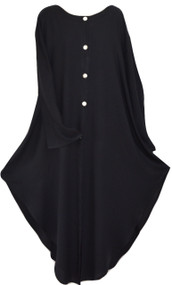 Fem Black Button Front Light Buttersoft Long Blouse