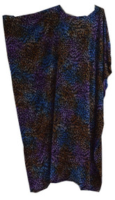 Multicolour Leaves Print Tie dye Buttersoft Kaftan Dress - Freesize