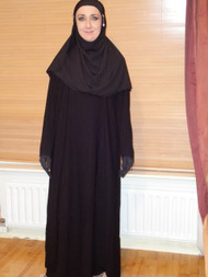 2 Piece Saudi Black Abaya Jilbab Dress & Scarf