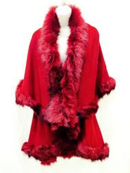 LUX Womens Ladies Celeb Faux Fur Double Layered Wrap Poncho Shawl Cape Cloak