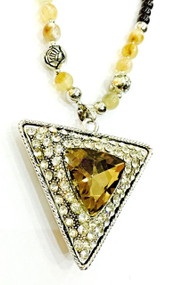 Triangular Brown Gem Bling Statement Jewellery Pendant Chain Beads Necklace