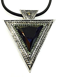 GEO Black Triangular Chunky Statement Geometric Pendant Chain Choker Necklace