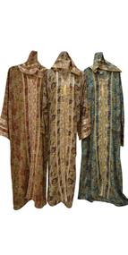 Moroccan kaftan farasha hood long ladies dress hood summer gold blue elegant new