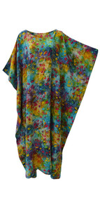 GLOW Vibrant Tie Dyed Leaf Kaftan Caftan Cool Soft Long Ladies Dress Plus Hand Printed