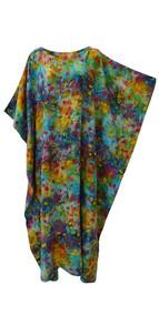 GLOW Vibrant Tie Dyed Leaf Kaftan Caftan Cool Soft Long Ladies Dress Plus Hand Printed