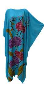 MARINA Blue Hand Painted Floral Kaftan Caftan Buttersoft Long Dress Plus