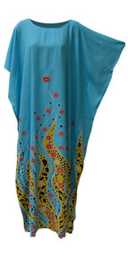 CORAL Ocean Flower Lilac Blue Kaftan Caftan Soft Long Beach Swimwear Dress ladies Women Robe Plus Moroccan
