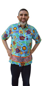 RAFFLESIA Designer Handmade Cotton Batik Top Hawaii Shirt Mens Short Sleeved Vacation Holiday Sports Designer