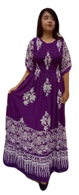 3 Tier Purple Maxi Smocked Long Party Casual Kaftan Dress Batik Gypsy Boho Beach 12 14 16 18 20 20