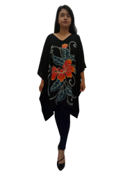 Poncho Orchid Floral T-Shirt Blouse Flowing Top Short Flower Ladies Womens Hand Made Luxury