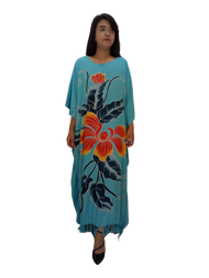 Blue Orchid Beautiful Black Hand Painted Flower Buttersoft Long Kaftan Dress - Freesize