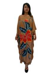 Brown Orchid Beautiful Black Hand Painted Flower Buttersoft Long Kaftan Dress - Freesize