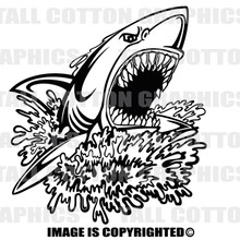 shark attack black vinyl decal